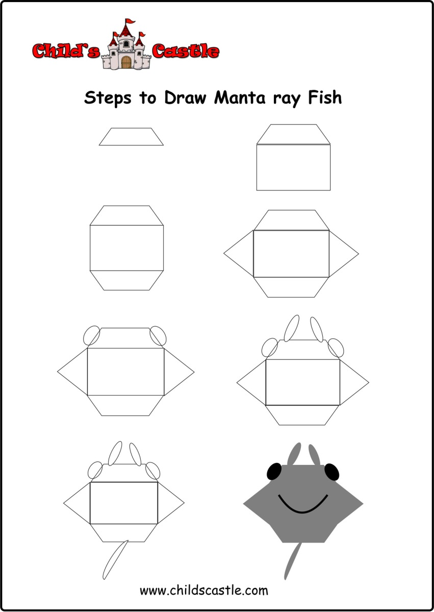steps to draw manta ray fish